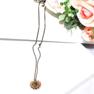Fossil Dainty Gold Tone Sunflower Necklace